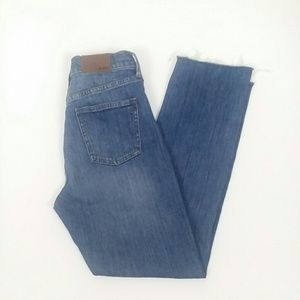 Madewell perfect fall jean high rise raw hem